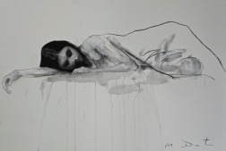 Mark Demsteader drawings -Bethany reclined 3, pastel & collage øTheP 06