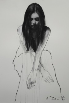 Mark Demsteader drawings -Bethany seated 2, pastel & collage øTheP 02