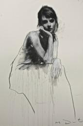 Mark Demsteader drawings -Hanna seated 2, pastel & collage øTheP 10