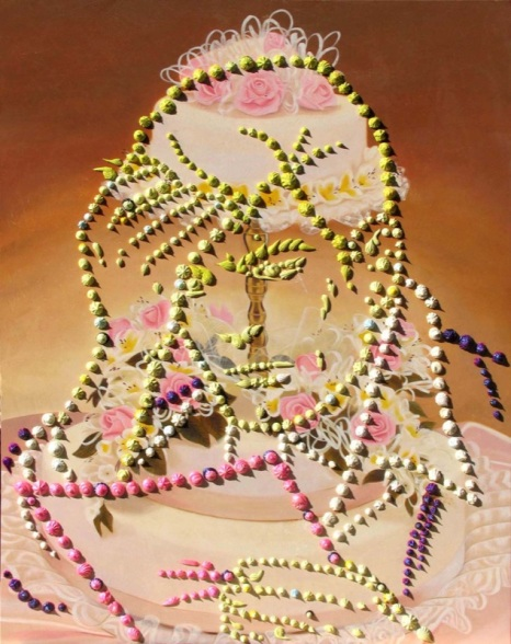 """""""The letter"""" 2007 Oil, acrylic and glitter on canvas / Huile, acrylique et paillettes sur toile"""