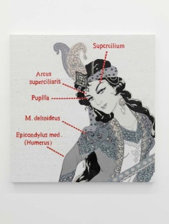 """""""Anatomy of a Woman 2"""" 2012 Hand embroidery and crystal on canvas / Broderie et cristal sur toile"""
