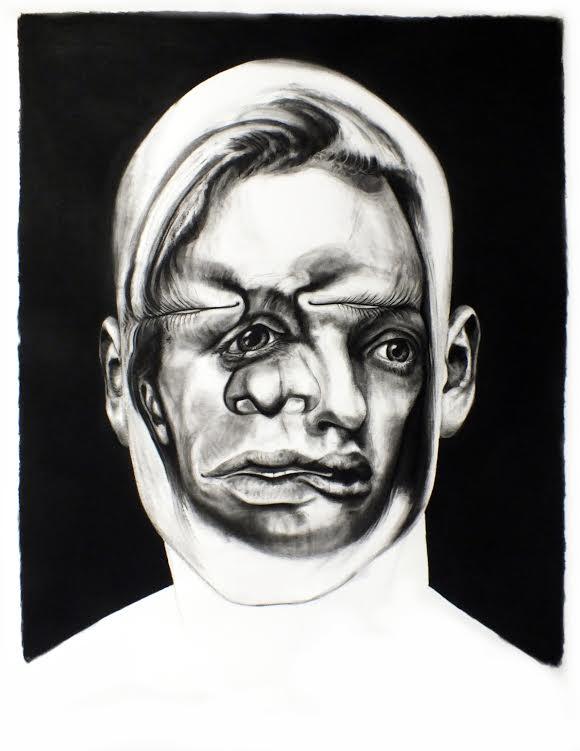 Face FS147 Black Manner - Melancholia, 150x110 cm, charcoal on paper, 2013