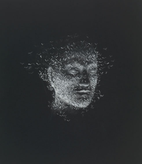 Crayon on black paper 56,1 x 49,1 cm  2009 Private collection The Netherlands