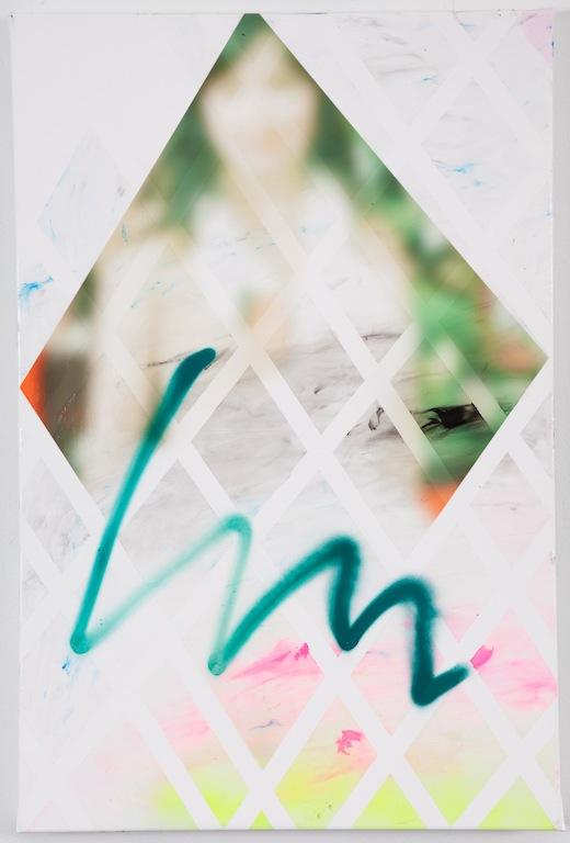 'Isobel' (swan dress) 20 x 30 spray paint, acrylic, inkjet on canvas 2012
