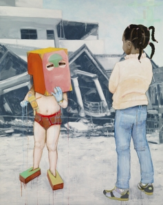 Don-Michelle (son of a conman-daughter of a madame) 2010 Oil- Acryllic- Ink and Vellum on Canvas 48 x 60 inches copy