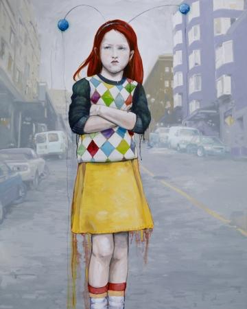 Irish Girl 2009 Oil- Acryllic- Ink and Vellum on canvas 48 x 60 copy