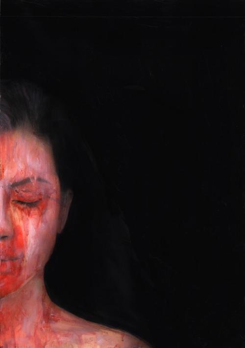 """""Requiem "" - Mixed media on paper (collage, ecoline, acrylic) ,21 x 29.7 cm"""