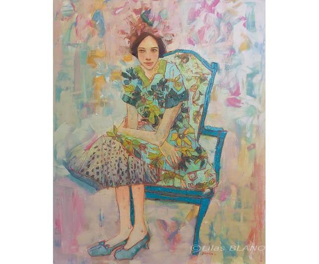 La Véronique sur Chaise Bleu Canard