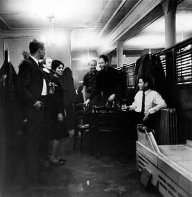 From left, American artists Jasper Johns, Bill Giles, Anna Moreska, and Robert Rauschenberg (1925 - 2008), with choreographer Merce Cunningham (1919 - 2009) and composer John Cage (1912 - 1992)