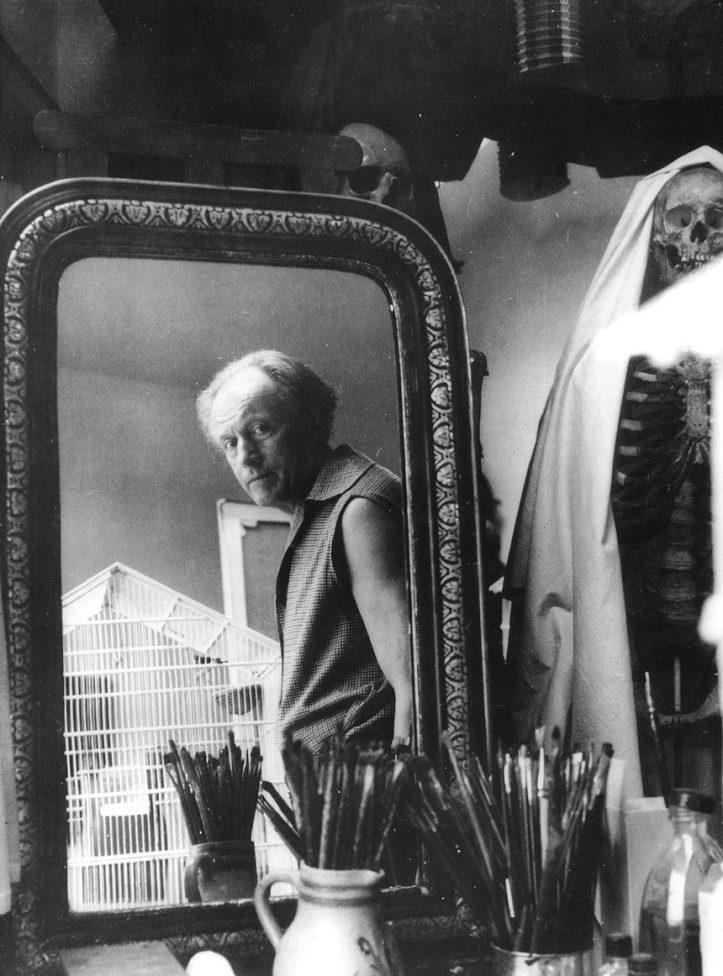 Paul Delvaux allo specchio nel suo atelier