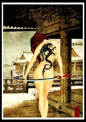 """Modern ukiyoe """"Dragon lady"""" print"""