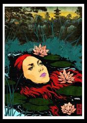 """Modern ukiyoe """"Ophelia"""" print"""