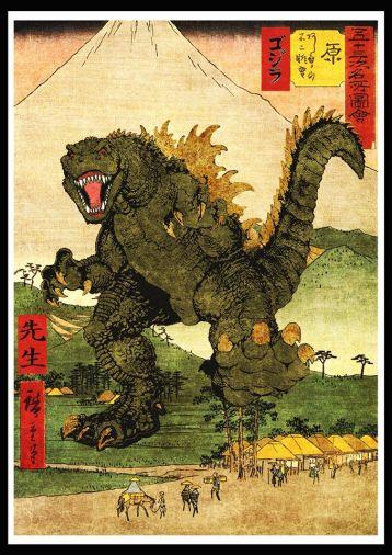 """Modern ukiyoe """"Gojira unleashed 2"""" print"""